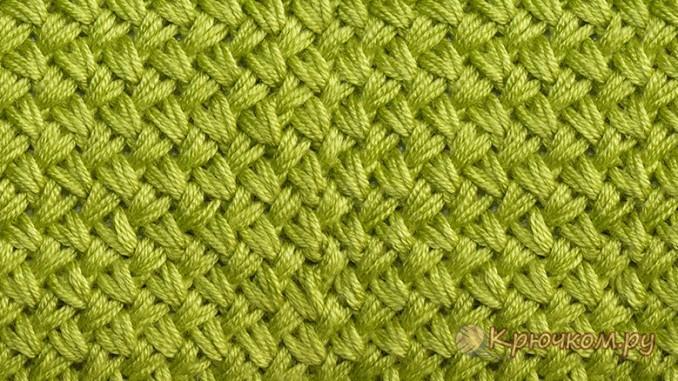 Узор Мелкая плетенка спицами