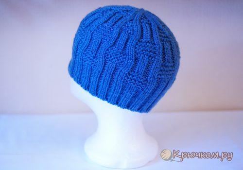 Детская зимняя шапка спицами