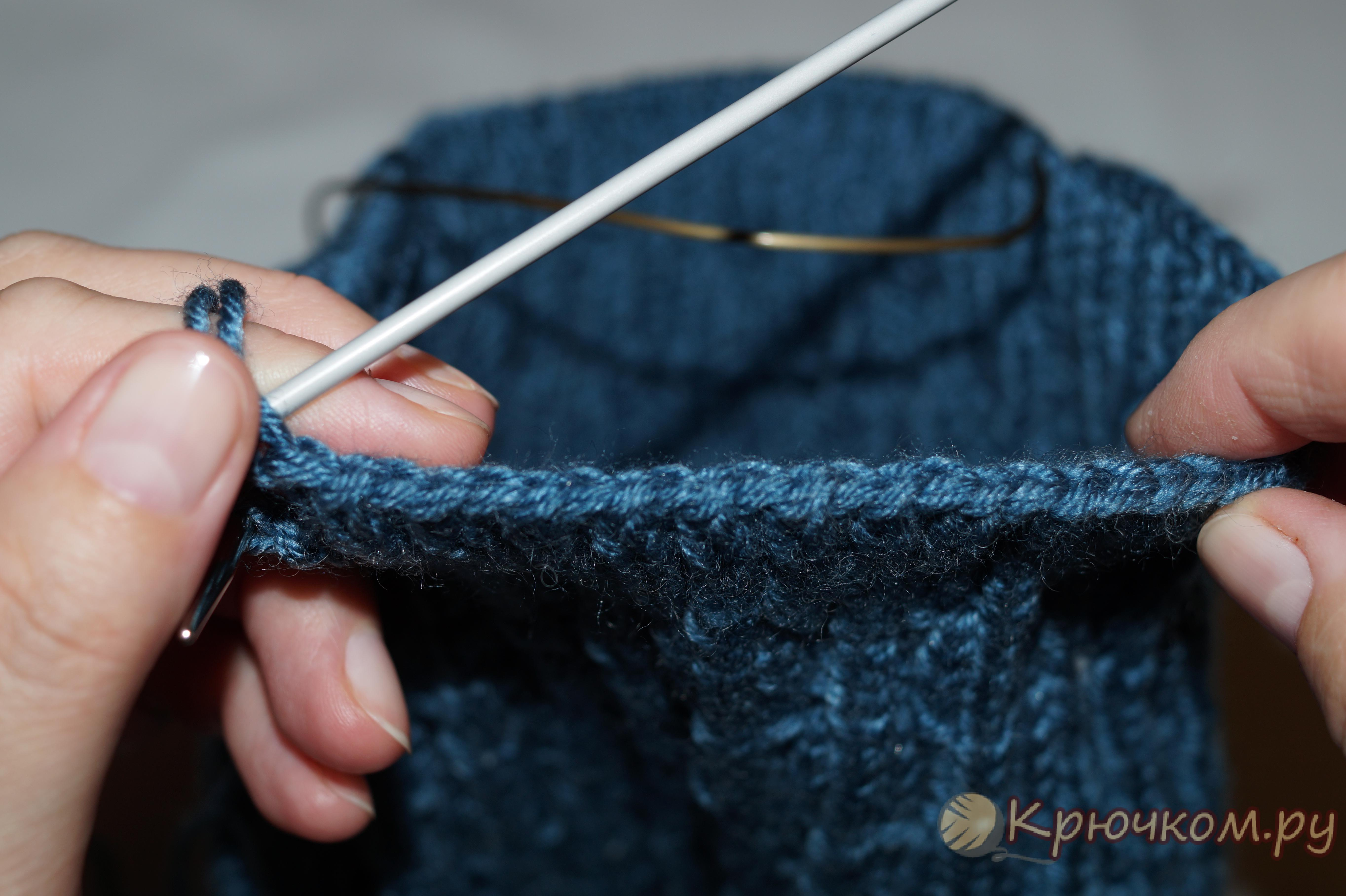 Как набрать петли для вязания снуда