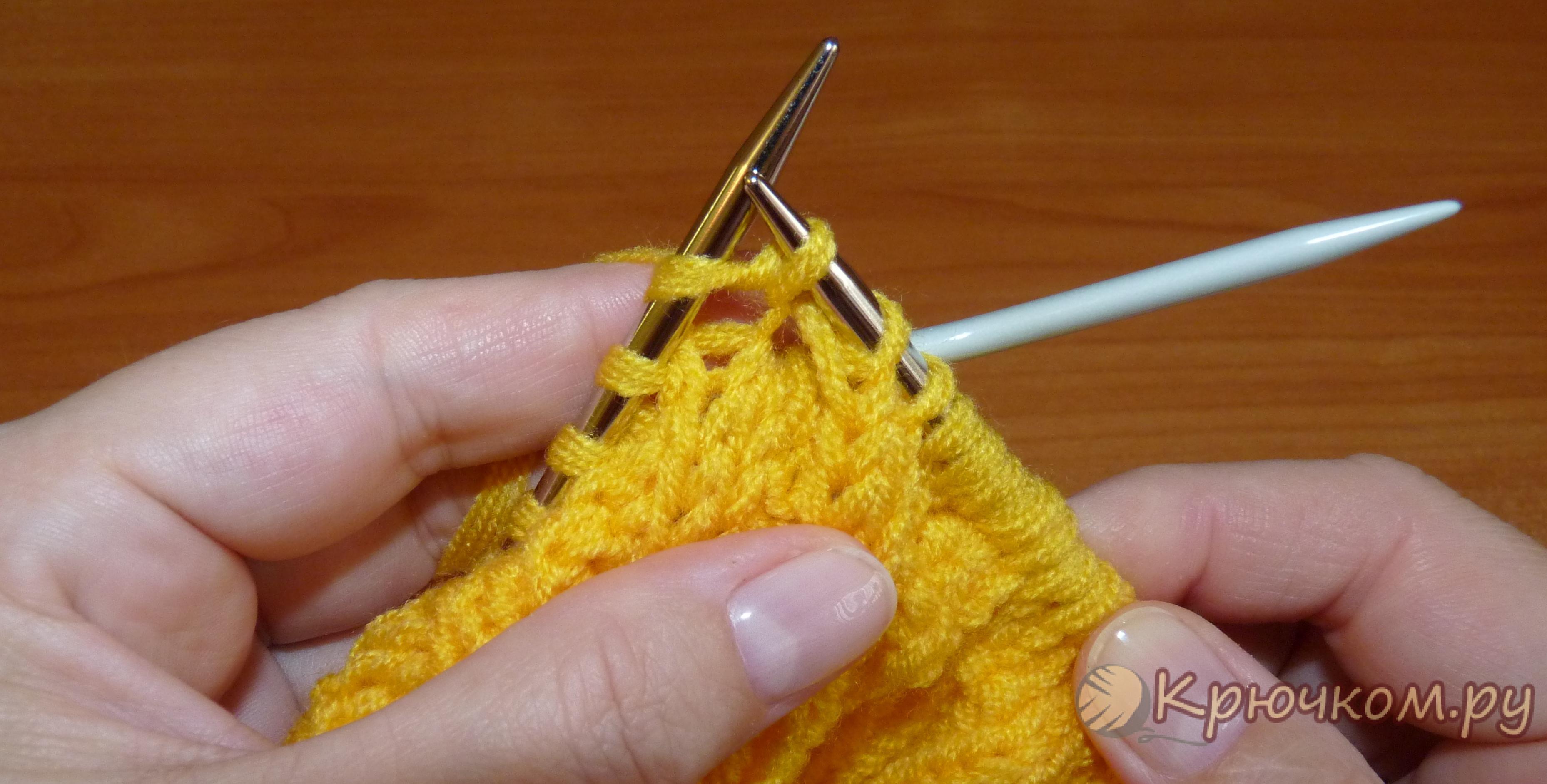 Вязание спицами резинка скрещенными петлями