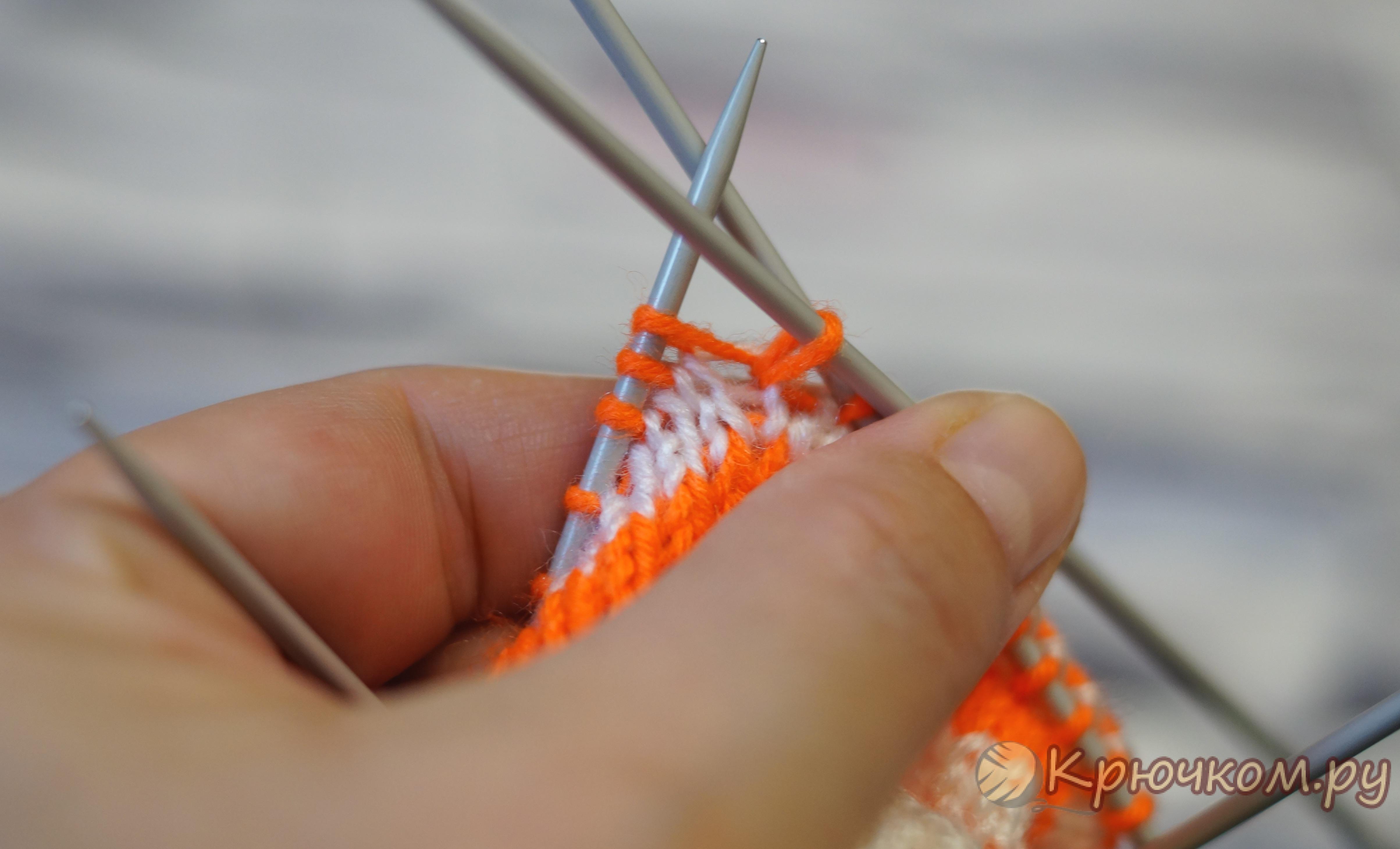 Смена нитки при вязании спицами 18